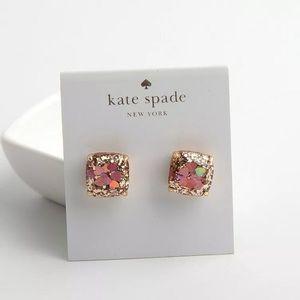 NWOT Kate Spade glitter hearts pink/gold earrings